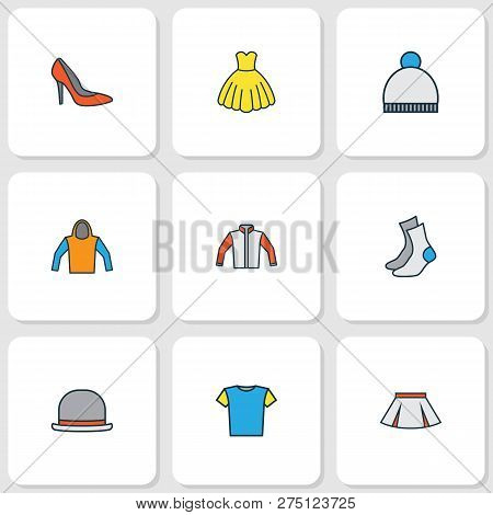 Dress Icons Colored Line Set With Dress, Cardigan, Hoodie And Other Sweatshirt Elements. Isolated Ve