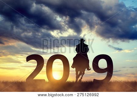 Silhouette of a cowboy riding a horse in the sunset. Forward to the New Year 2019.