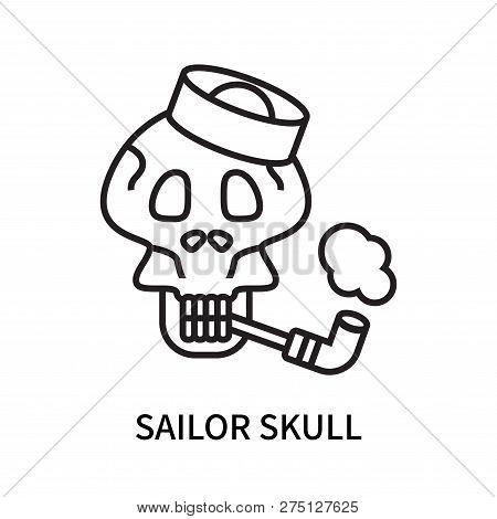 Sailor Skull Icon Isolated On White Background. Sailor Skull Icon Simple Sign. Sailor Skull Icon Tre