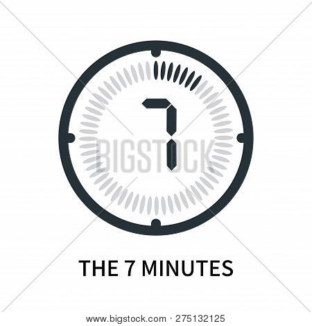 The 7 Minutes Icon Isolated On White Background. The 7 Minutes Icon Simple Sign. The 7 Minutes Icon