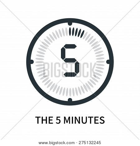 The 5 Minutes Icon Isolated On White Background. The 5 Minutes Icon Simple Sign. The 5 Minutes Icon