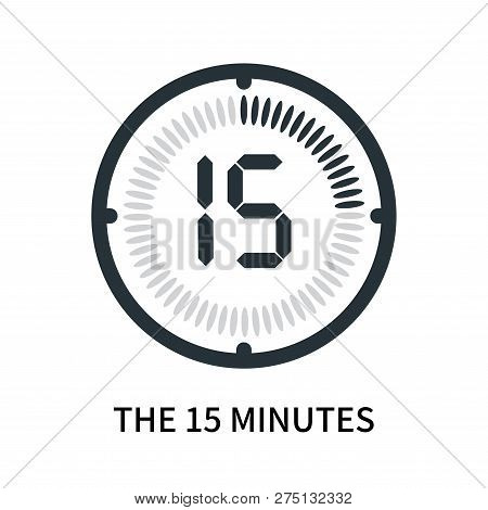 The 15 Minutes Icon Isolated On White Background. The 15 Minutes Icon Simple Sign. The 15 Minutes Ic