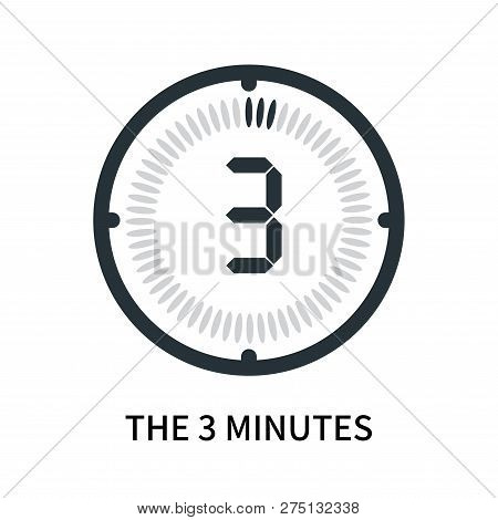The 3 Minutes Icon Isolated On White Background. The 3 Minutes Icon Simple Sign. The 3 Minutes Icon