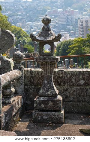 Nagasaki, Japan - October 24, 2018 View from one of the temples along the Temple Street, Teramachi dori, over Nagasaki city