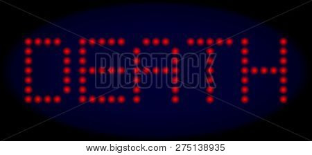 Death Title In Led Style With Round Glowing Dots. Vector Shiny Red Letters Forms Death Title On A Da