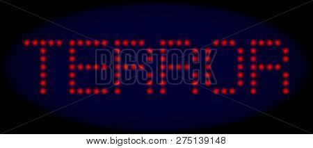 Terror Text In Led Style With Round Glowing Pixels. Vector Illuminated Red Letters Forms Terror Text