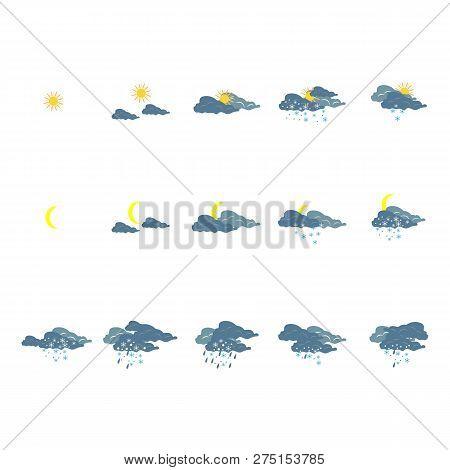 Weather Winter Icon Set. Meteorology Symbol Weather Forecast. Icons Prognosis Weather. Design Elemen