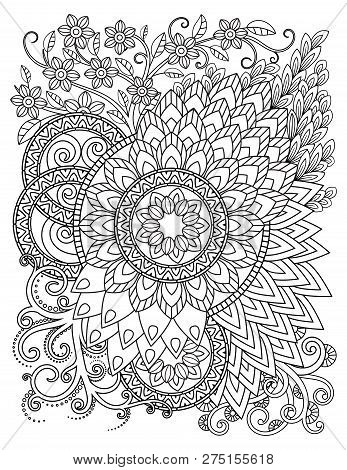 Mandala Pattern In Black And White. Adult Coloring Book Page With Mandalas. Oriental Pattern, Vintag