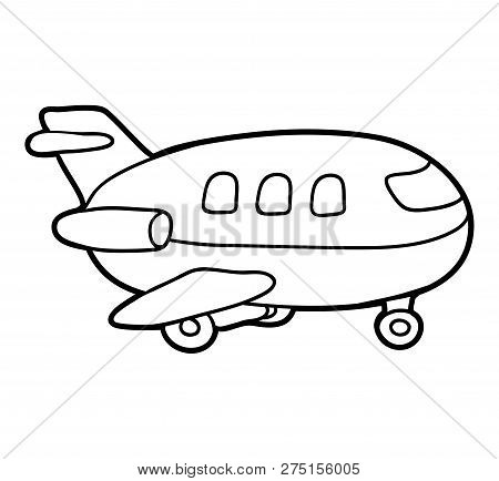 Coloring Book For Children, Black And White Airplane