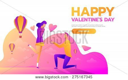 An Offer Of Marriage. Man Proposes A Woman To Marry Him And Gives An Engagement Ring. Vector Illustr