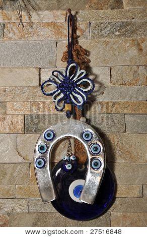 Blue talisman horseshoe and eye