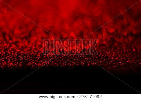 Bokeh Red Glittering Light Shine On Black, Red Sparkling Luxury Grand Bright For Background Cosmetic