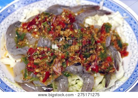 Shrimp In Fish Sauce Spicy Hot, Shrimp In Fish Sauce Topped With Chili Peppers, Shrimp Sea Foods Men
