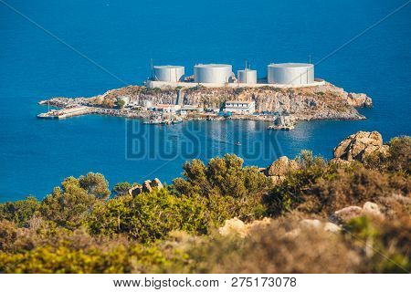 a major oil storage and terminal facility, located on the small island of Aghios Pavlos, Saint Paul, Crete, Greece poster