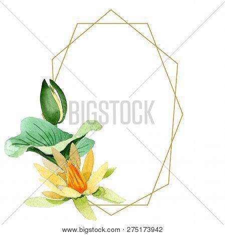 Yellow Lotus. Floral Botanical Flower. Watercolor Background Illustration Set. Frame Border Ornament