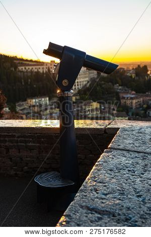 A Close Up Photo Of A Public Monocular On The Top Of A Mountain With Spectacular Aerial Views Of The