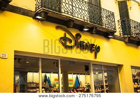 Verona, Italy - 9 December 2018: Disney Store Signage. The Disney Store Is An International Chain Of