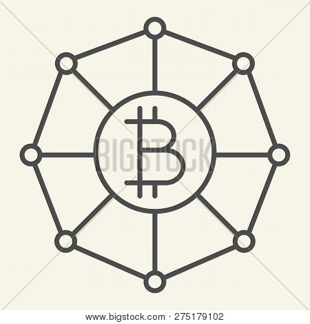 Blockchain World Thin Line Icon. Cryptocurrency Network Vector Illustration Isolated On White. Crypt