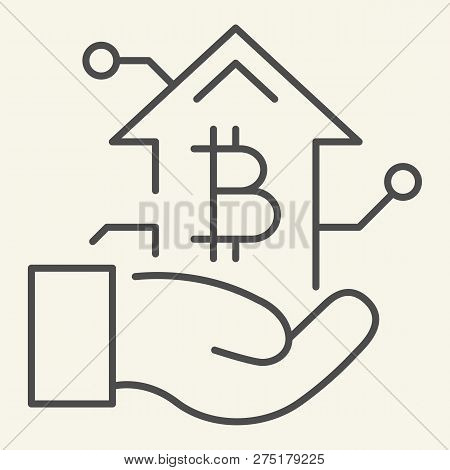 Bitcoin Growth Chart In Hand Thin Line Icon. Arm With Cryptocurrency Graph Vector Illustration Isola