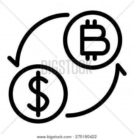 Coins Of Dollar And Bitcoin With Arrows Line Icon. Dollar And Bitcoin Exchange Vector Illustration I