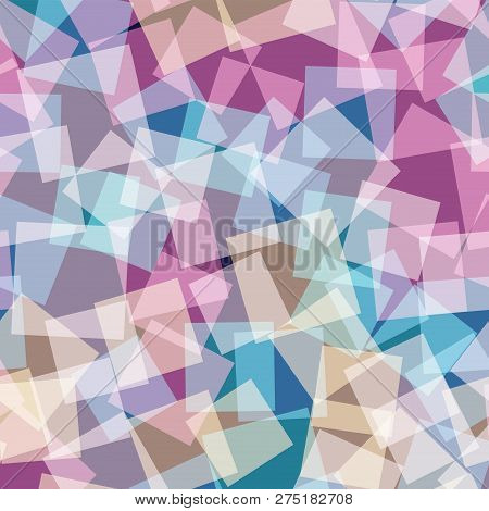 Abstract Squares Pattern. Deep Blue Geometric Background. Delicate Random Squares. Geometric Chaotic