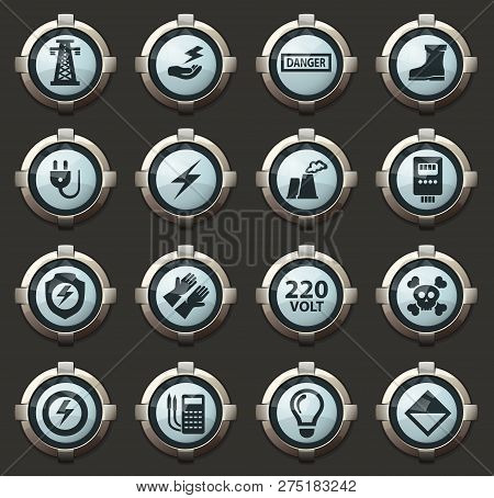 High Voltage Vector Icons In The Stylish Round Buttons For Mobile Applications And Web