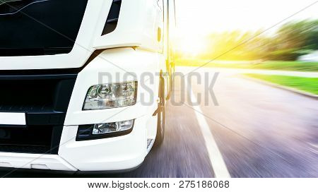 Truck On The Road . Commercial Transport .  Truck Transport Container