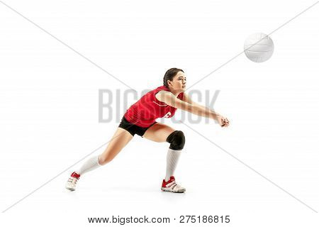 Female Professional Volleyball Player With Ball Isolated On White Studio Background. The Athlete, Ex