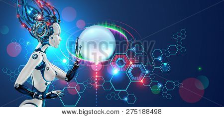 Robot Work Side View. Cyborg Or Android Woman Touches Virtual Graphics Interface. Ai Or Artificial I