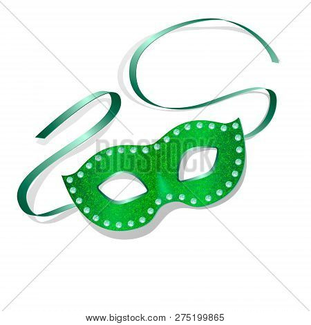 Carnival Mask With Shiny Glitter Texture. Venetian Carnival Mardi Gras Party. American New Orleans F