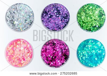 Collection Of Nail Glitters Of Different Colors