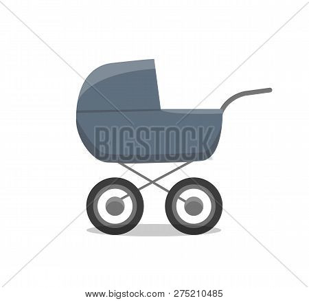 Pram With Newborn Little Child Isolated Icon Of Perambulator For Children Young Age Vector. Infant C
