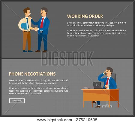 Working Order And Phone Negotiations Vector Poster. Boss Leader Speaking On Telephone, Conversation