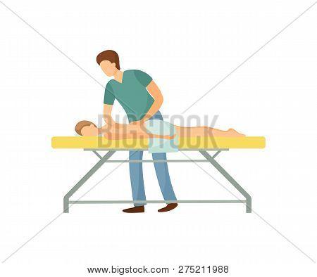 Back Massage In Beauty Salon Cartoon Isolated Vector. Standing Masseur In Uniform Massaging Client L