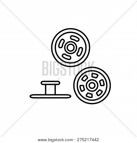 Black & White Illustration Of Metal Snap Fasteners. Stud Denim Buttons. Vector Line Icon. Isolated O