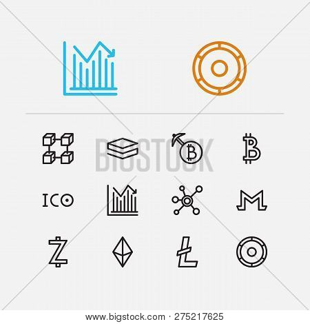 Blockchain Icons Set. Stock Price And Blockchain Icons With Ico Token, Node And Mining. Set Of Datab