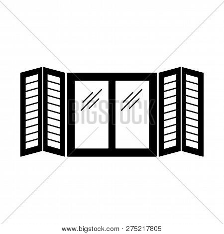 Black & White Illustration Of Old Window Tier On Tier Shutter. Vector Flat Icon Of Wooden Vintage Ou