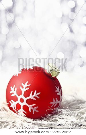 Red Christmas Bauble With Boketh