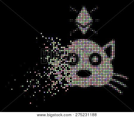 Ethereum Crypto Kitty Illustration With Dissipated Effect In Light Color Tinges On A Black Backgroun