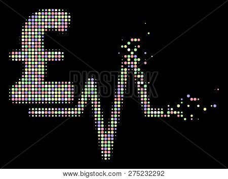 Pound Pulse Pictogram With Disintegrated Style In Bright Color Tinges On A Black Background. Bright