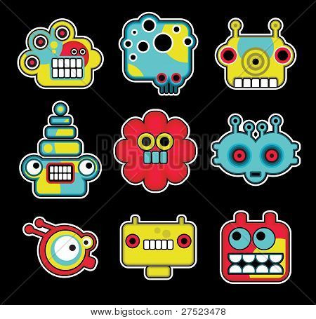 Cartoon robots and monsters faces in color. Vector illustration set. poster