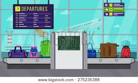 Vector Illustration: Airport Security. X-ray Luggage Scanner. Checking Baggage Inside Airport. Check