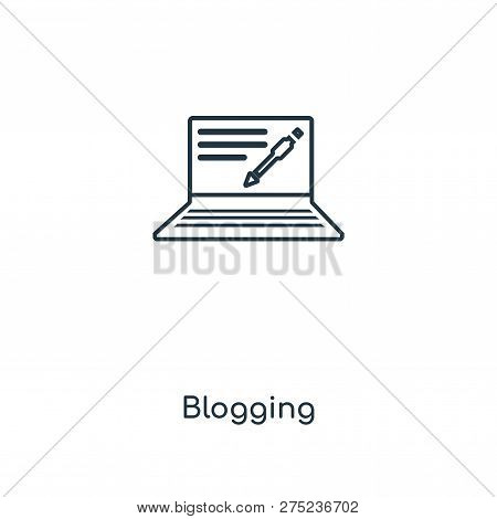 Blogging Icon In Trendy Design Style. Blogging Icon Isolated On White Background. Blogging Vector Ic