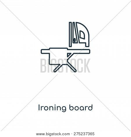 Ironing Board Icon In Trendy Design Style. Ironing Board Icon Isolated On White Background. Ironing