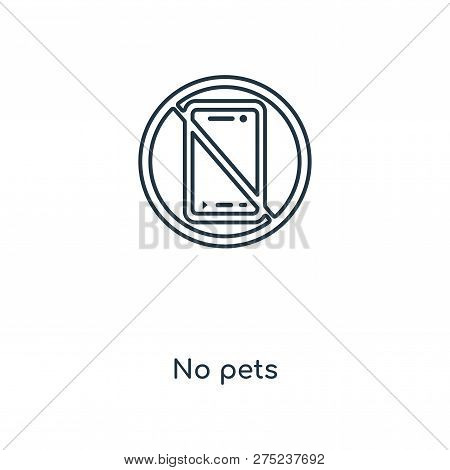 No Pets Icon In Trendy Design Style. No Pets Icon Isolated On White Background. No Pets Vector Icon