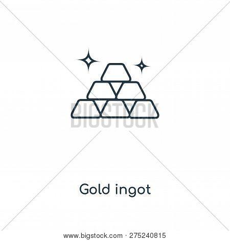 Gold Ingot Icon In Trendy Design Style. Gold Ingot Icon Isolated On White Background. Gold Ingot Vec