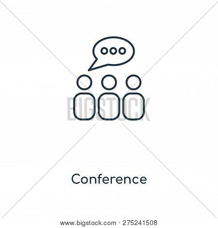 Conference Icon In Trendy Design Style. Conference Icon Isolated On White Background. Conference Vec