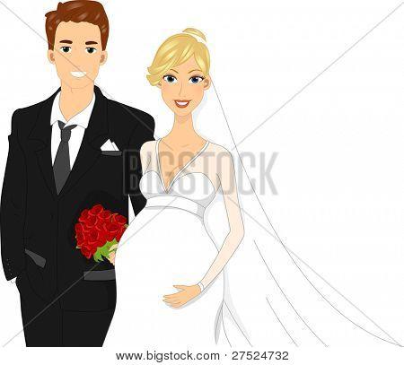 Illustration of a Pregant Bride Standing Beside Her Groom