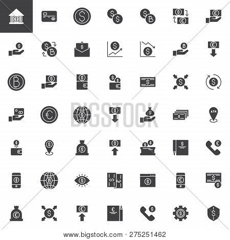 Money Exchange Vector Icons Set, Modern Solid Symbol Collection, Filled Style Pictogram Pack. Signs,