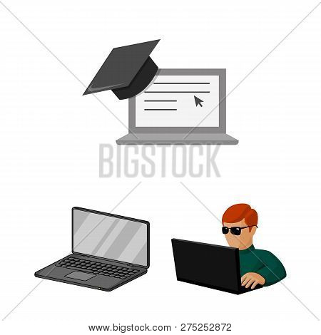 Vector Illustration Of Pc And Screen Icon. Collection Of Pc And Monitor Stock Vector Illustration.